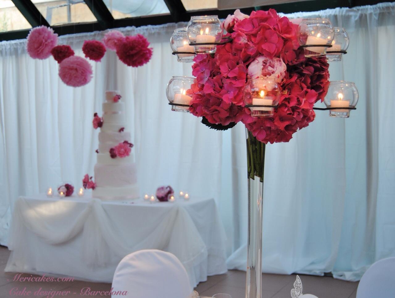 Lace peony wedding cake mericakes cake designer - Decoracion con hortensias ...