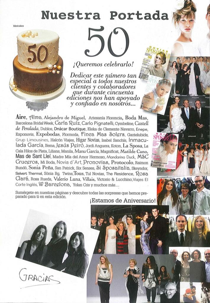 Contraportada de la revista Sposabella donde aparece la tarta que Mericakes hizo para celebrar su 50º aniversario.