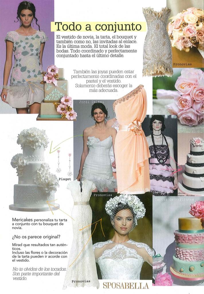 Todo a juego. Sposabella muestra la posibilidad de conjuntar tu tarta de boda con tu vestido y flores. Tartas: Mericakes