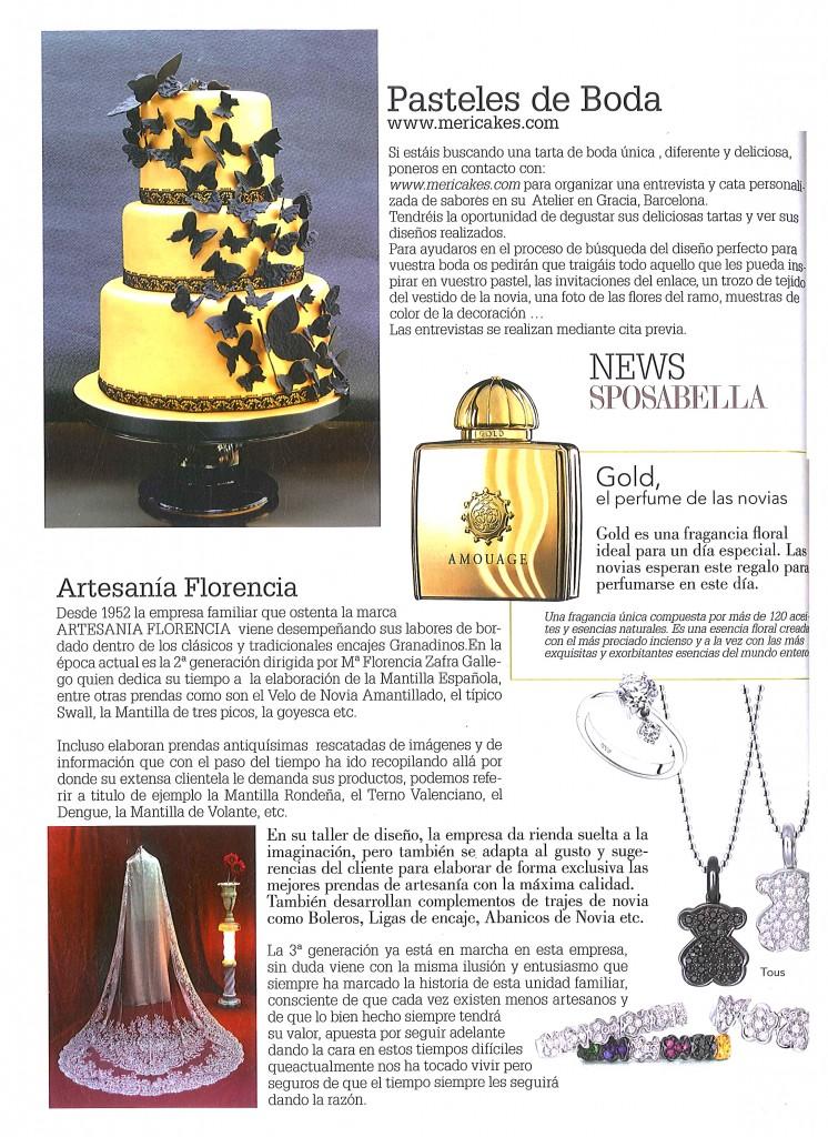 Mención a Mericakes en el nº 50 de la revista de novias Sposabella