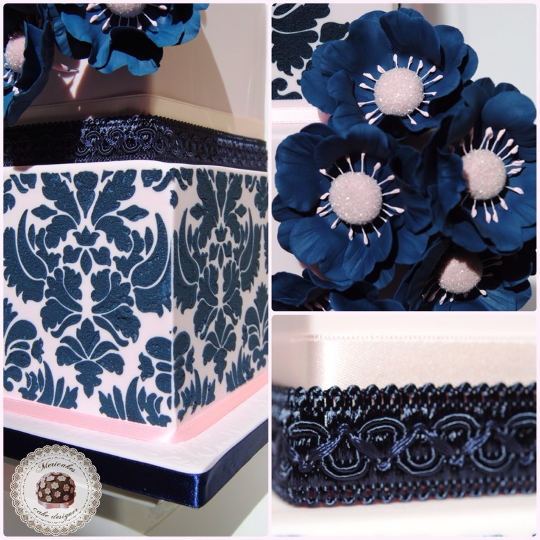 wedding-cake-tarta-de-boda-damask-damasco-navy-sugarcraft-bridal-sugar-flowers-flores-de-azucarbarcelona-mericakes-anemonas-stencil-3