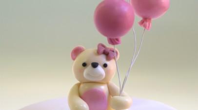 Teddy & Balloons Christening cake (Tarta bautizo osita)