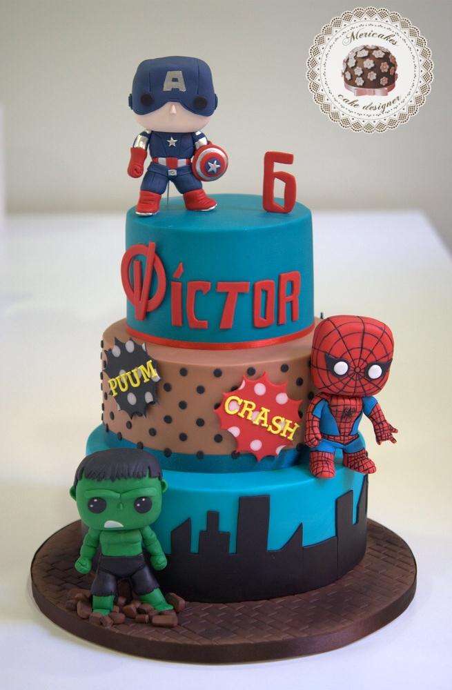 tarta-marvel-avengers-comic-hulk-spiderman-capitan-america-mericakes-barcelona-fondant-cake