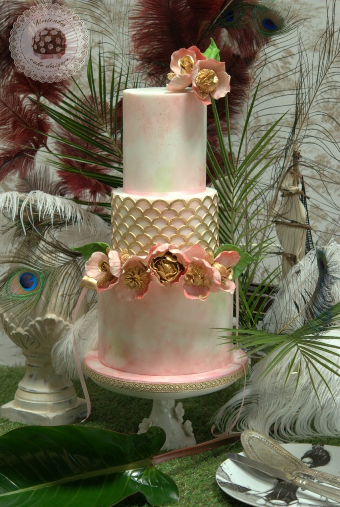wedding cake, bodas barcelona, watercolor, flowers crown, mericakes, tartas de boda, gold, corona de flores (6)
