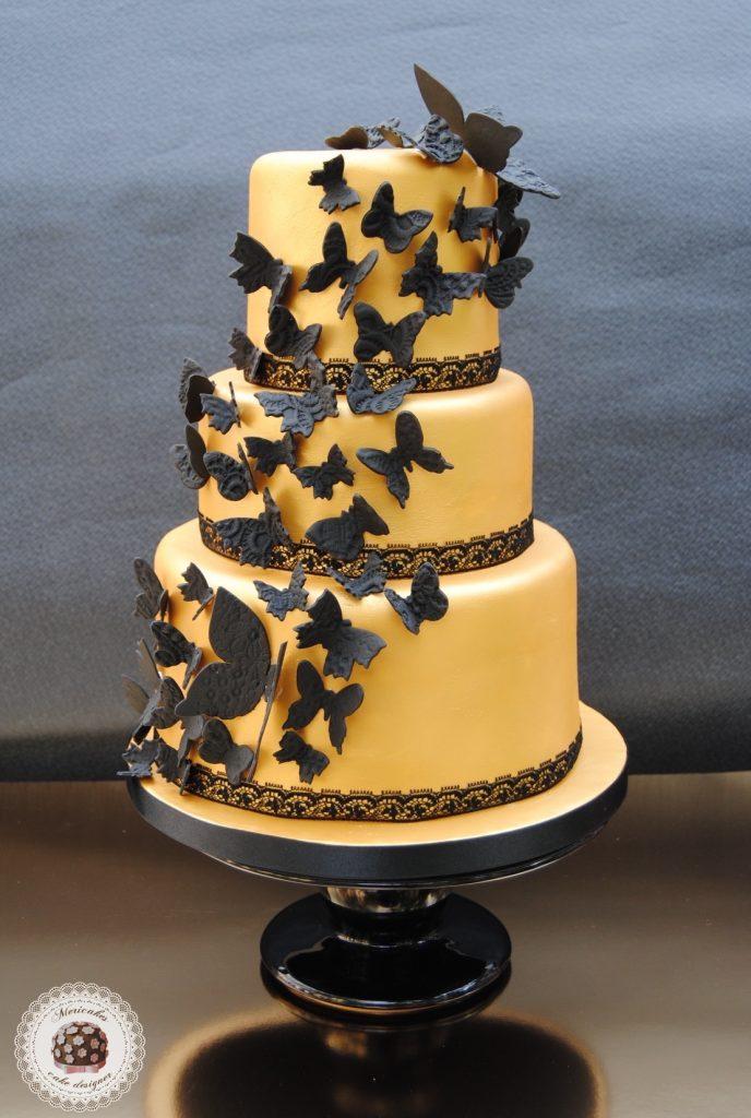 tarta-mariposas-dorado-encaje-negro-oro-weddingcake-fondant-pasta-de-azucar-sugarcraft-sugarpastemericakes-2