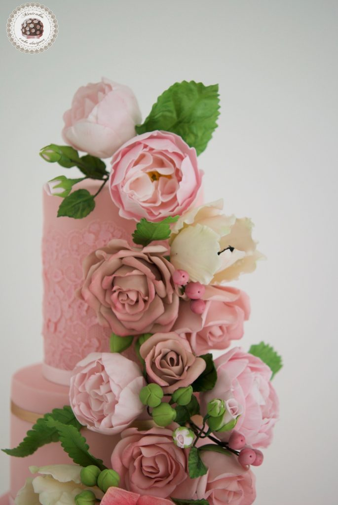 Mericakes, pink blooms, tarta de boda, sugar lace, encaje, tarta fondant, wedding flowers, floral couture wedding cake, barcelona, spain wedding, cake designer, cake decor, flores de azucar 13
