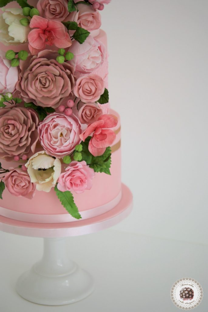 Mericakes, pink blooms, tarta de boda, sugar lace, encaje, tarta fondant, wedding flowers, floral couture wedding cake, barcelona, spain wedding, cake designer, cake decor, flores de azucar 16
