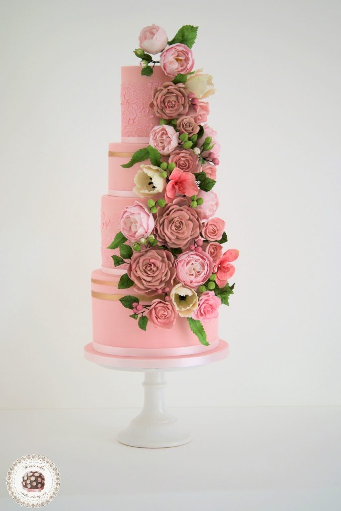 Mericakes, pink blooms, tarta de boda, sugar lace, encaje, tarta fondant, wedding flowers, floral couture wedding cake, barcelona, spain wedding, cake designer, cake decor, flores de azucar 20