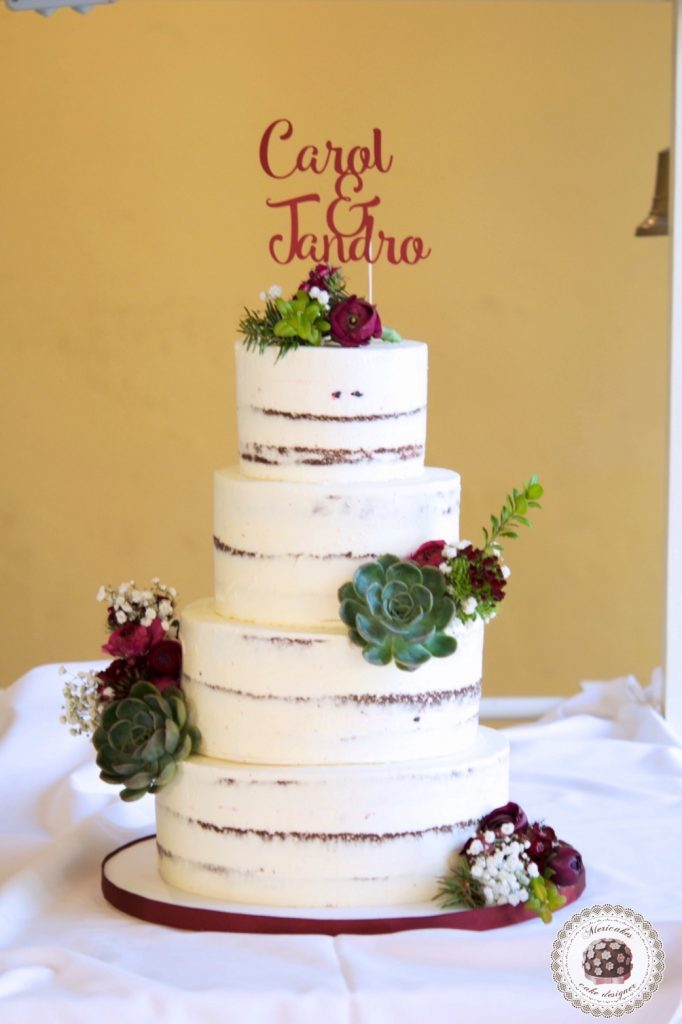 Wedding cake, tarta de boda, naked cake, semi naked, mericakes, just married, espai can pages, spain wedding, carol y jandro, just married, red velvet 5