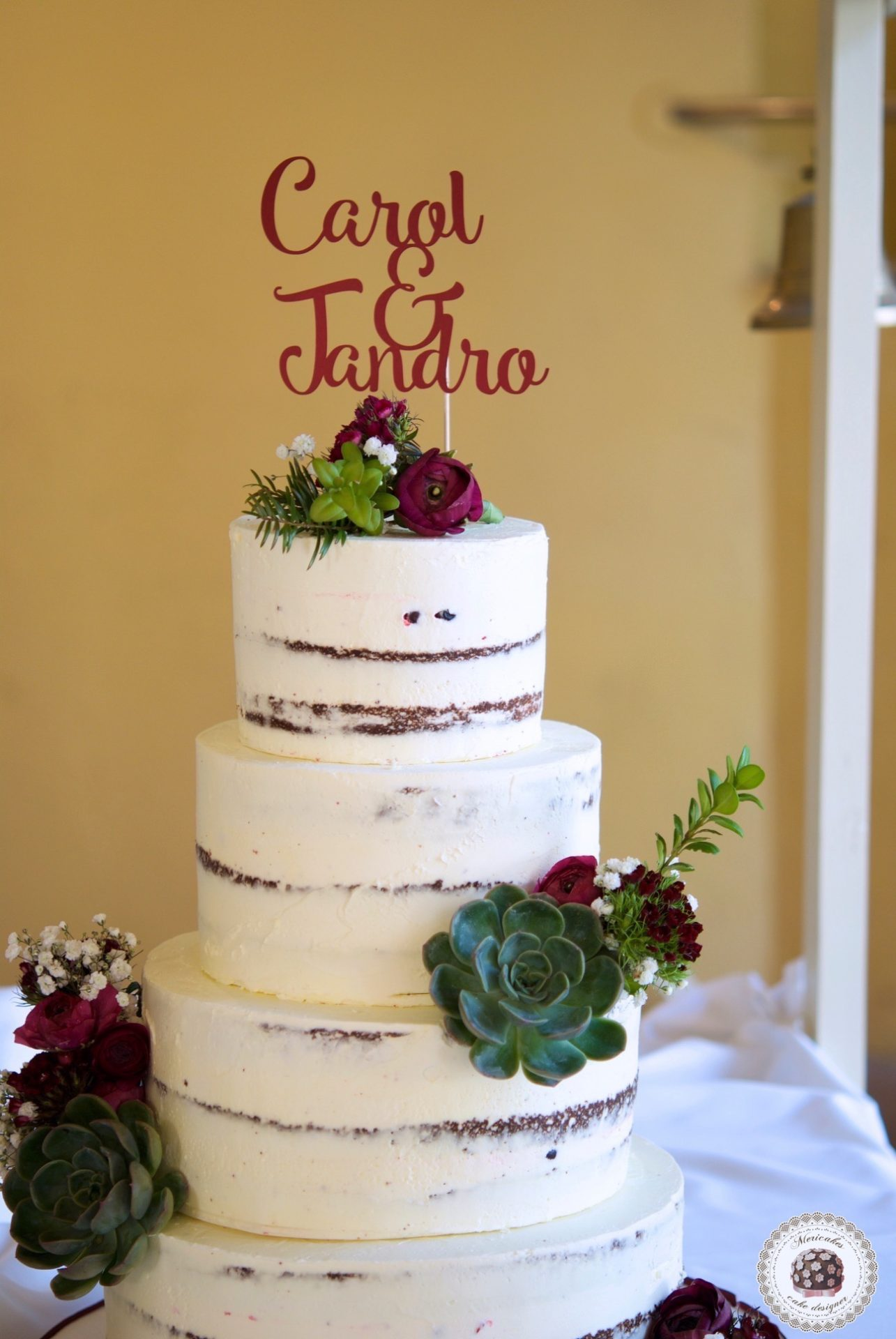 Wedding cake, tarta de boda, naked cake, semi naked, mericakes, just married, espai can pages, spain wedding, carol y jandro, just married, red velvet 6