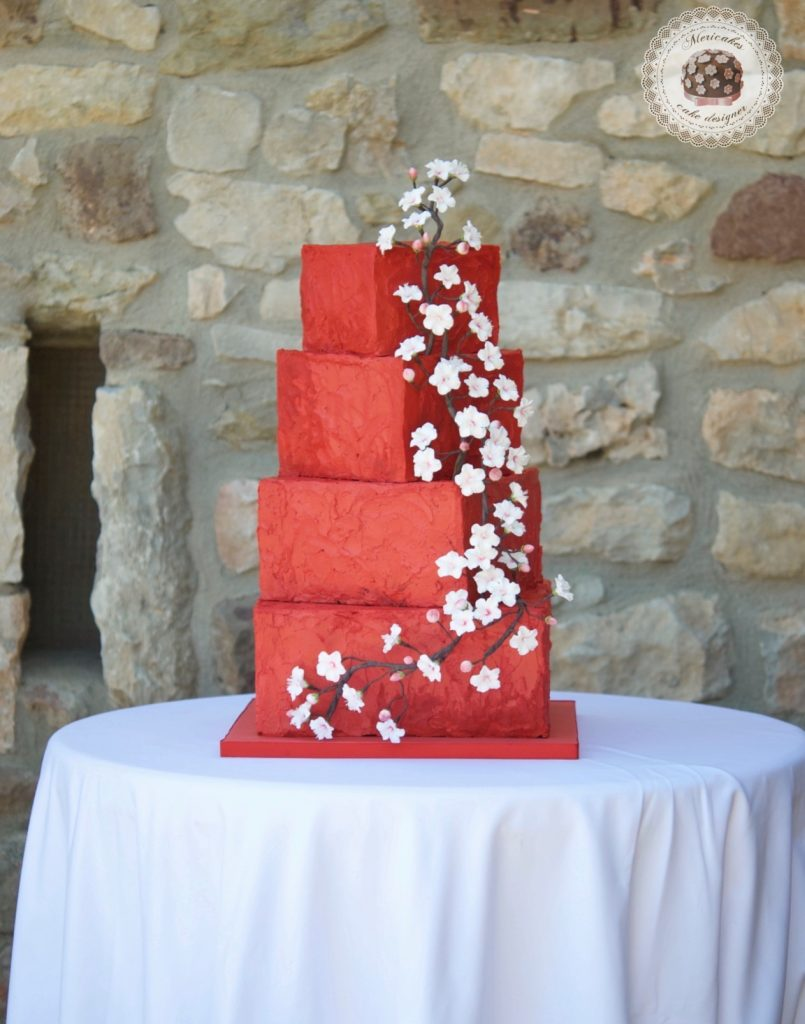 Cherry blossom, flor de cerezo, tarta de boda, wedding cake, mericakes, tartas barcelona, spain wedding, cream cake, red velvet, flores de azucar, sugarflowers, red wedding, cake artist 2