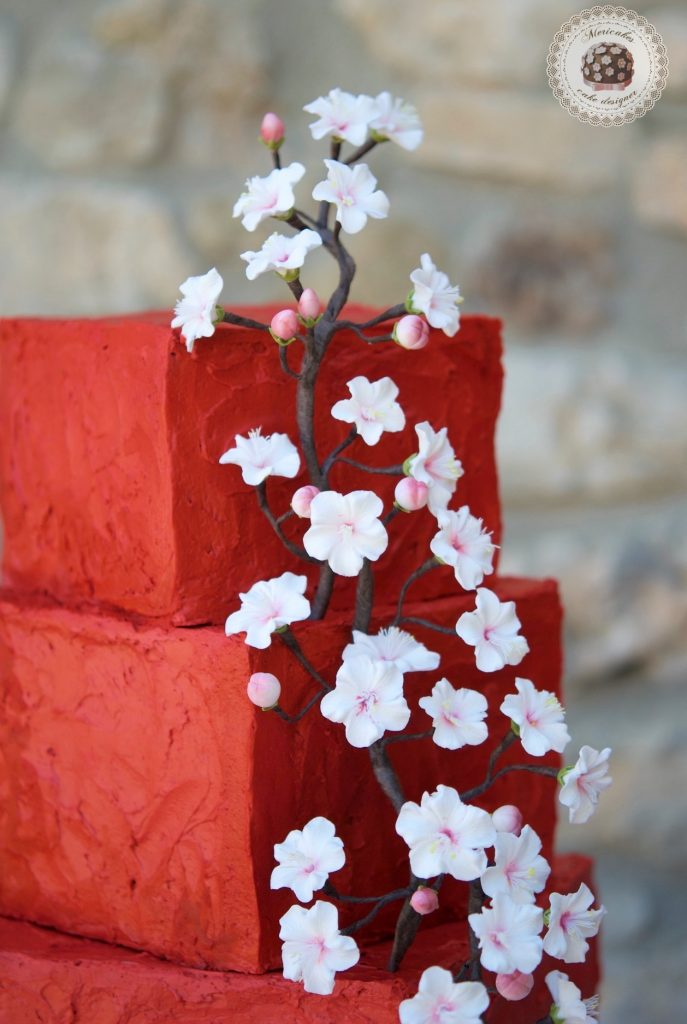Cherry blossom, flor de cerezo, tarta de boda, wedding cake, mericakes, tartas barcelona, spain wedding, cream cake, red velvet, flores de azucar, sugarflowers, red wedding, cake artist 3