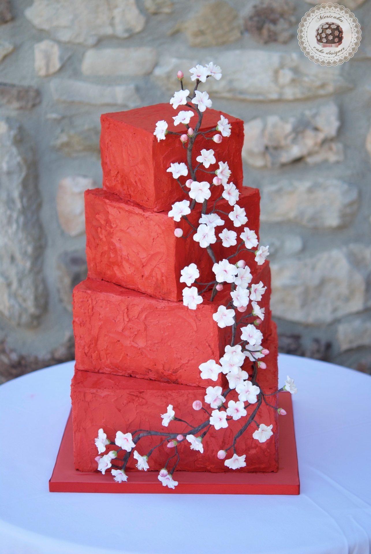 Cherry blossom, flor de cerezo, tarta de boda, wedding cake, mericakes, tartas barcelona, spain wedding, cream cake, red velvet, flores de azucar, sugarflowers, red wedding, cake artist 5