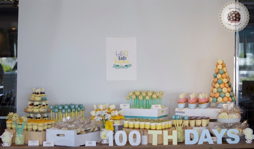 Mesa dulce, baby shower, dessert table, 100 th day, chick, pollito, mericakes, barcelona, eventos, macarons, galletas decoradas, cake pops