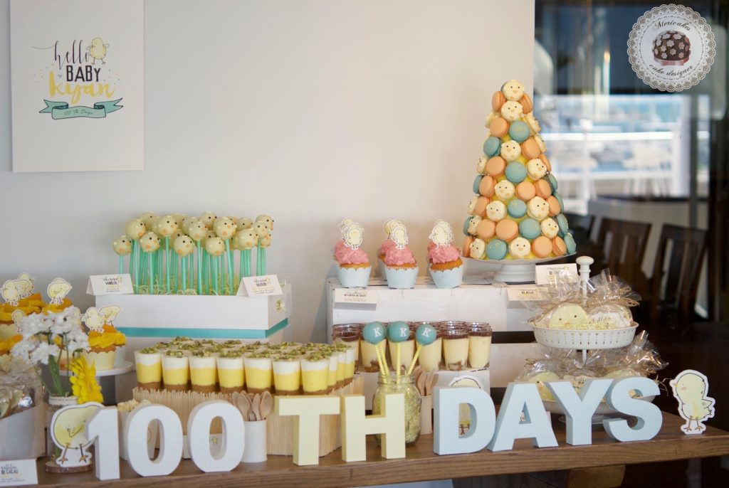 Mesa dulce, baby shower, dessert table, 100 th day, chick, pollito, mericakes, barcelona, eventos, macarons, galletas decoradas, cake pops 18