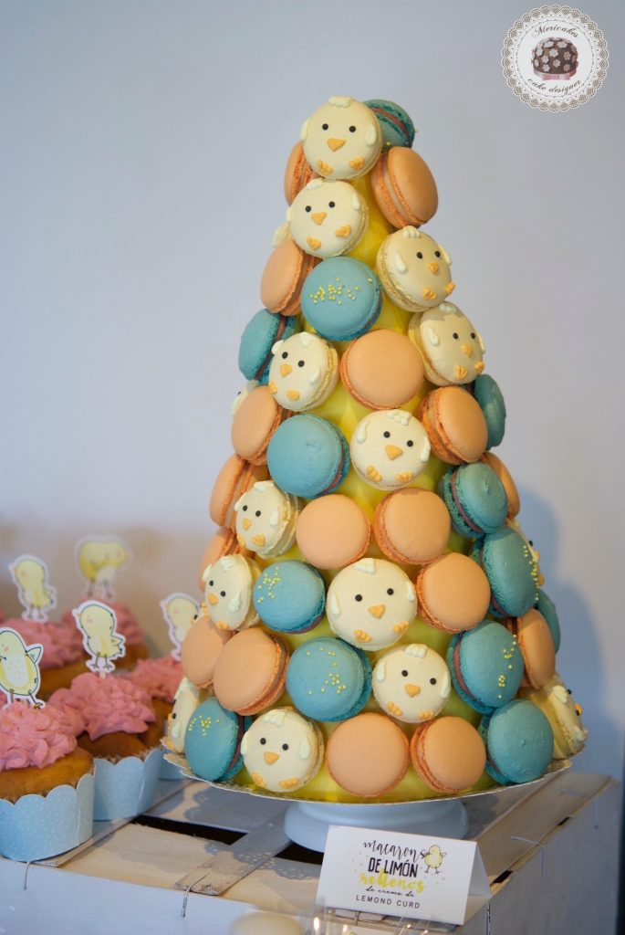 Mesa dulce, baby shower, dessert table, 100 th day, chick, pollito, mericakes, barcelona, eventos, macarons, galletas decoradas, cake pops 3