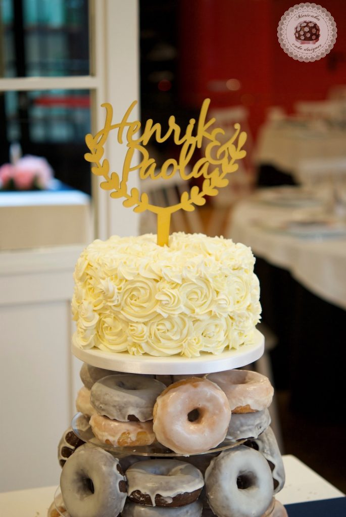 Wedding cake, tarta de boda, spain wedding, doughnuts, doughnuts tower, donuts, berlinas, donas, mericakes, barcelona, wedding stories, cream cake, cake topper, chocolate 1