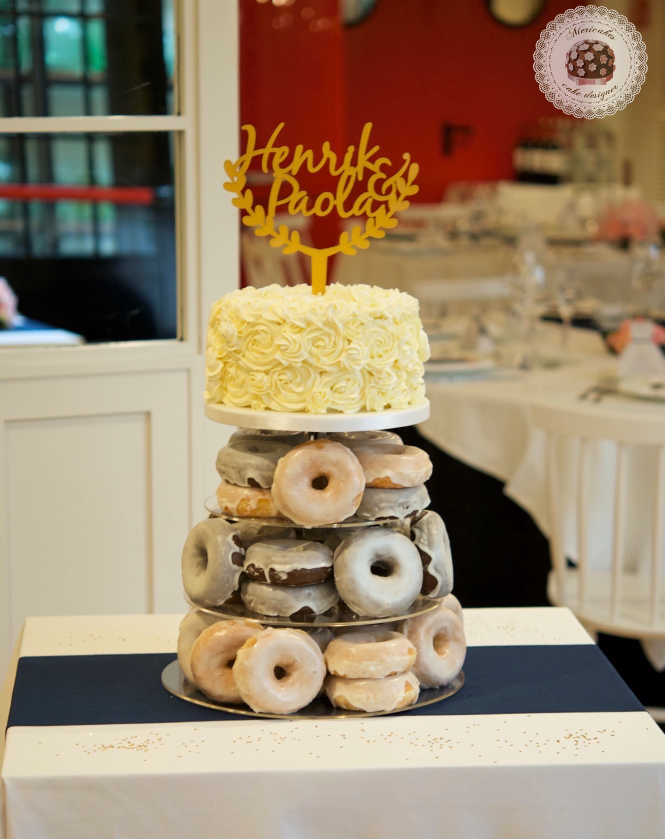 Wedding cake, tarta de boda, spain wedding, doughnuts, doughnuts tower, donuts, berlinas, donas, mericakes, barcelona, wedding stories, cream cake, cake topper, chocolate 8