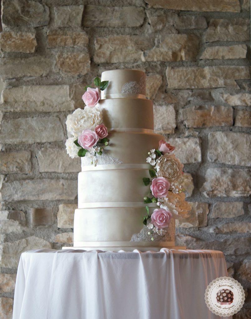 Wedding cake, fondant cake, lace, tartas de boda, tortas, mericakes, barcelona, peony, sugar flowers, flores de azucar, encaje, nude, pastry, pasteleria creativa, spain wedding, bodas reales 6