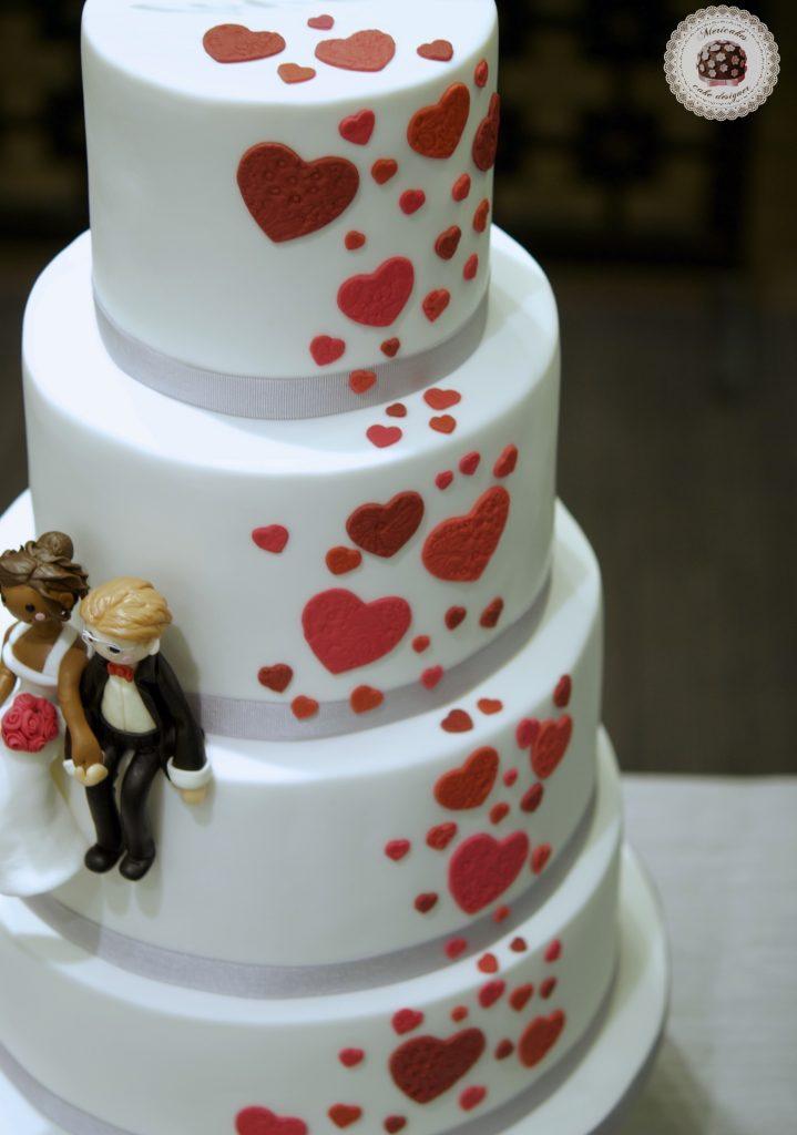 Tarta de boda, wedding cake, hearts cake, fondant, barcelona, mericakes, cava, rosas, almendra, champagne cream, groom, bride, cake topper, sugarcraft, chocolate, melia sarria 8
