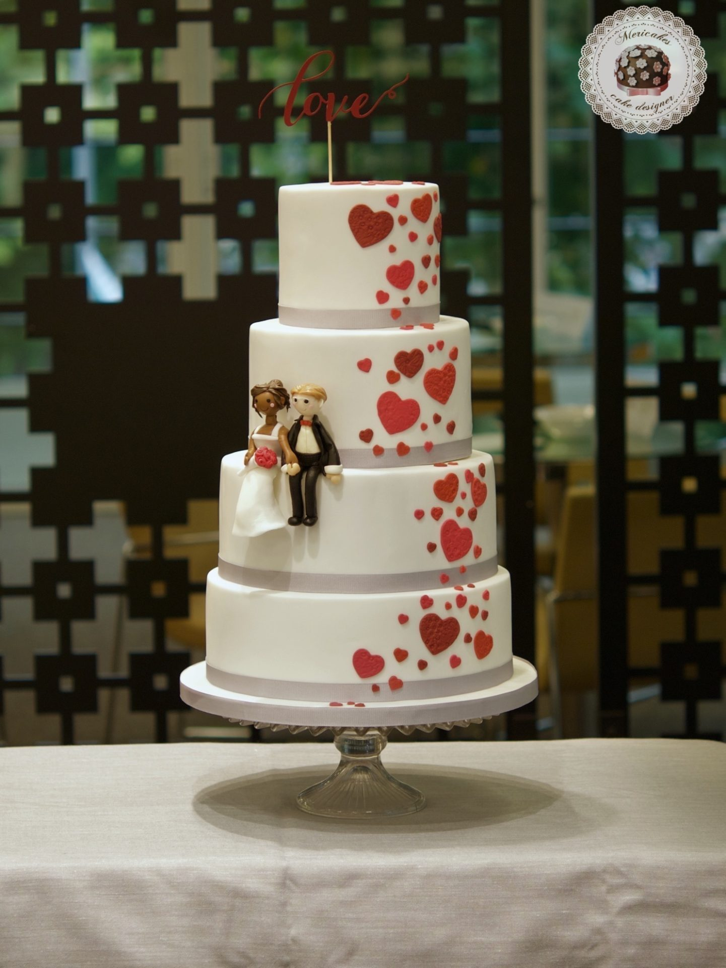 Tarta de boda, wedding cake, hearts cake, fondant, barcelona, mericakes, cava, rosas, almendra, champagne cream, groom, bride, cake topper, sugarcraft, chocolate, melia sarria