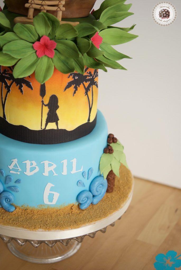 Vaina, Moana, Disney, hawaii, tropical cake, tartas barcelona, fondant, tarta cumpleaños, mericake, cupcakes, mesa dulce, cake decorating 1