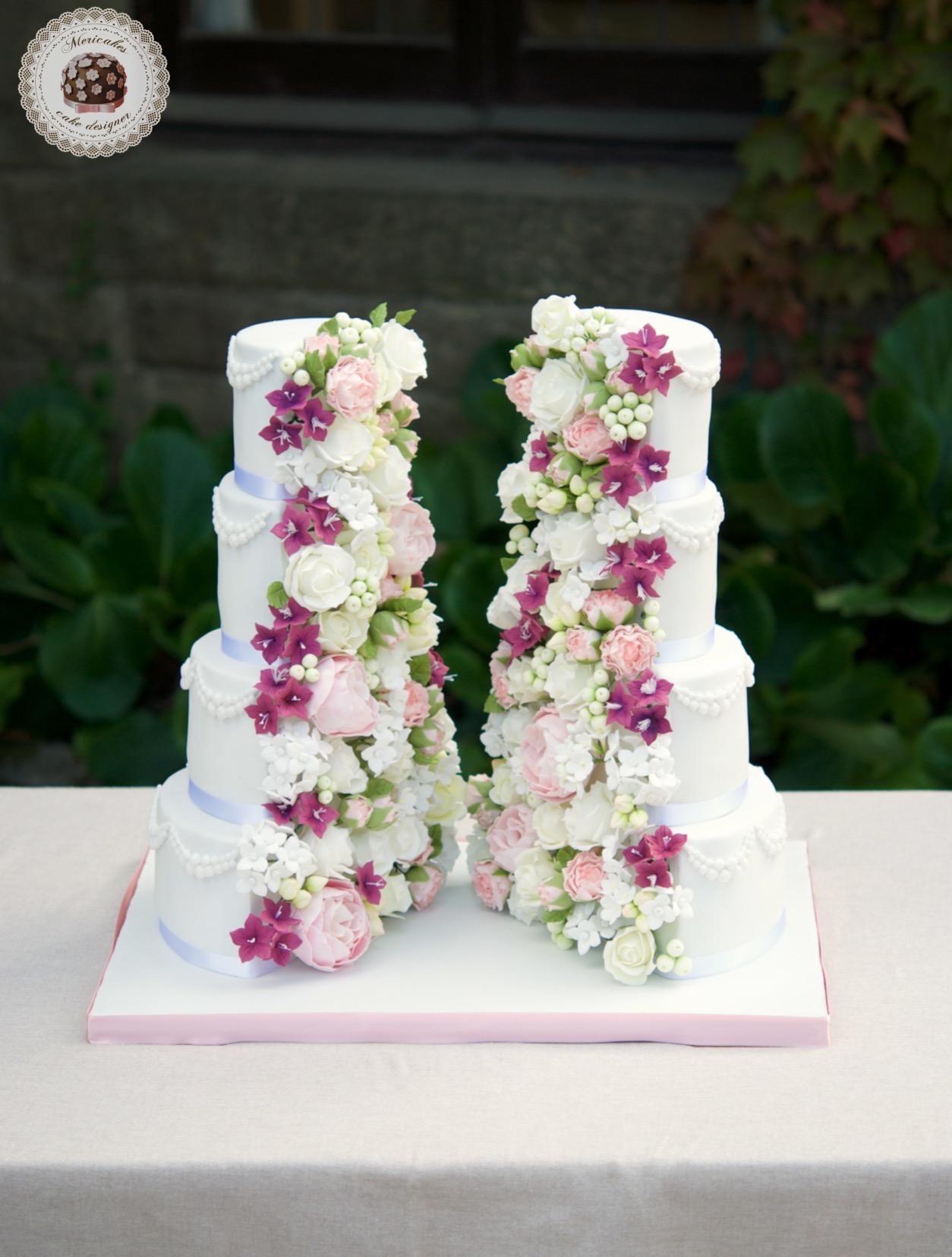 Half and half cake, wedding cake, luxury wedding cakes, mericakes, barcelona, sugarflowers, flores de azucar, la baronia, cake artist, vegan cake, tarta vegana, red velvet, vegan 1