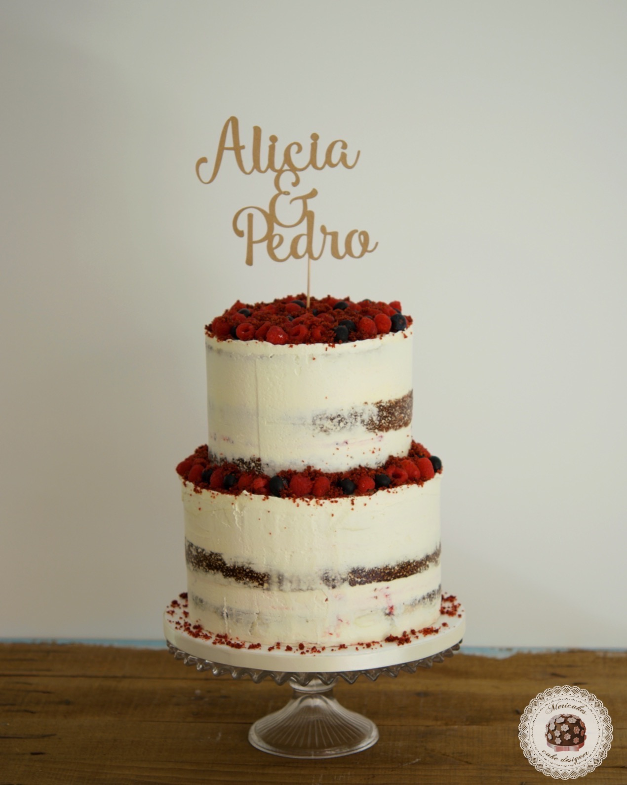 Red Velvet cake, wedding cake, semi naked, tarta de boda, spain wedding, pastry, berries, barcelona, mericakes 2