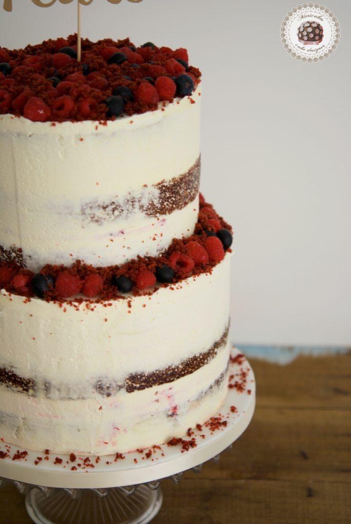 Red Velvet cake, wedding cake, semi naked, tarta de boda, spain wedding, pastry, berries, barcelona, mericakes 3