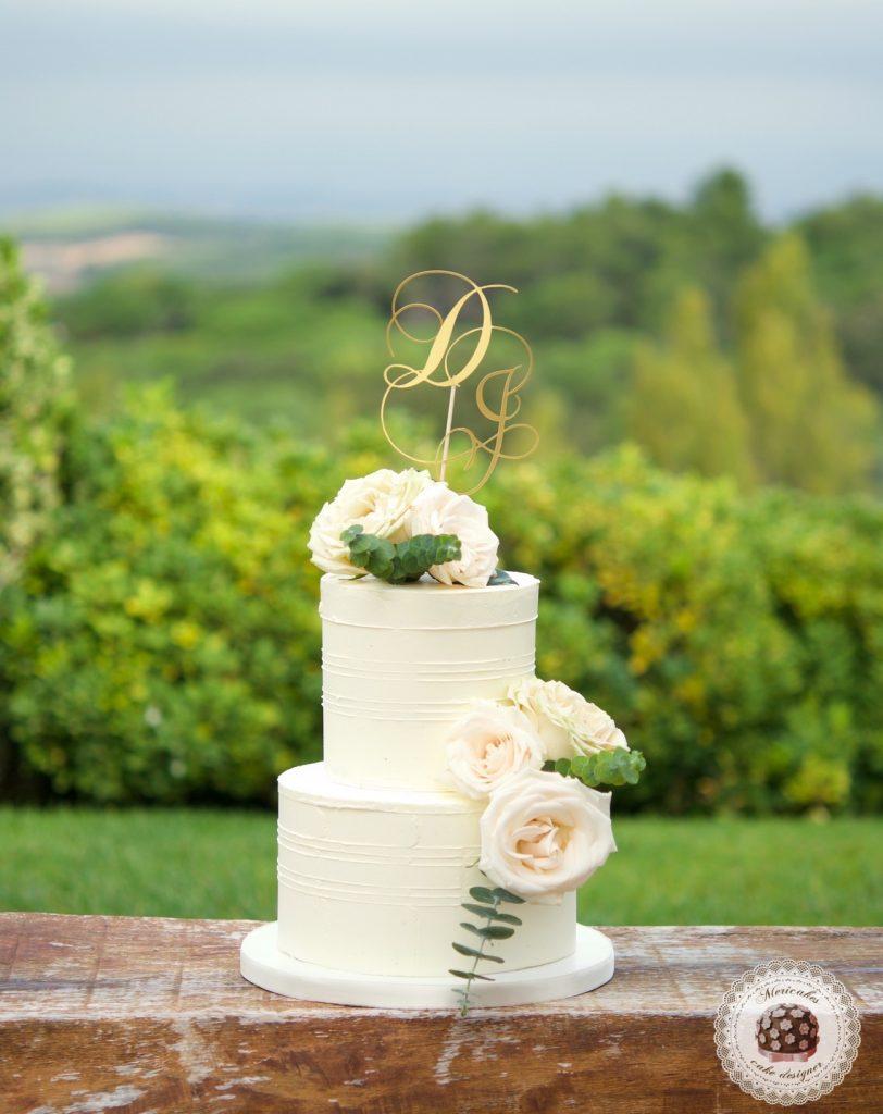 Romantic Wedding Cake, cream cake, tarta de boda, mericakes, barcelona, rosas, cake topper, eucalipto, spain wedding 1