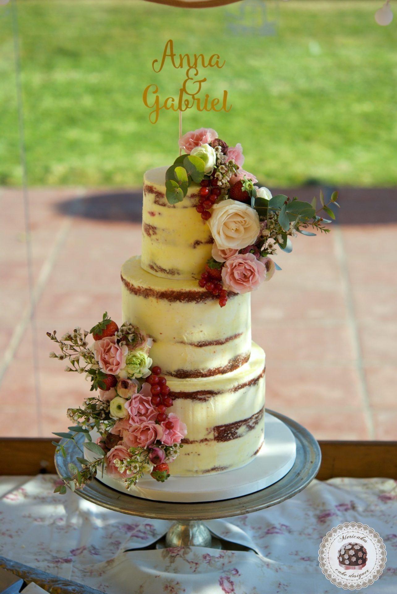 Flowers and Fruit Semi Naked Wedding Cake