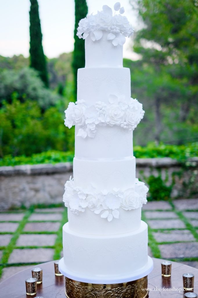 Lace Blooms Wedding Cake