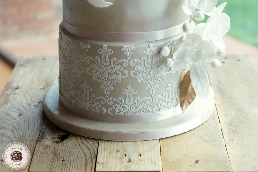 Orchid and Damask Wedding Cake