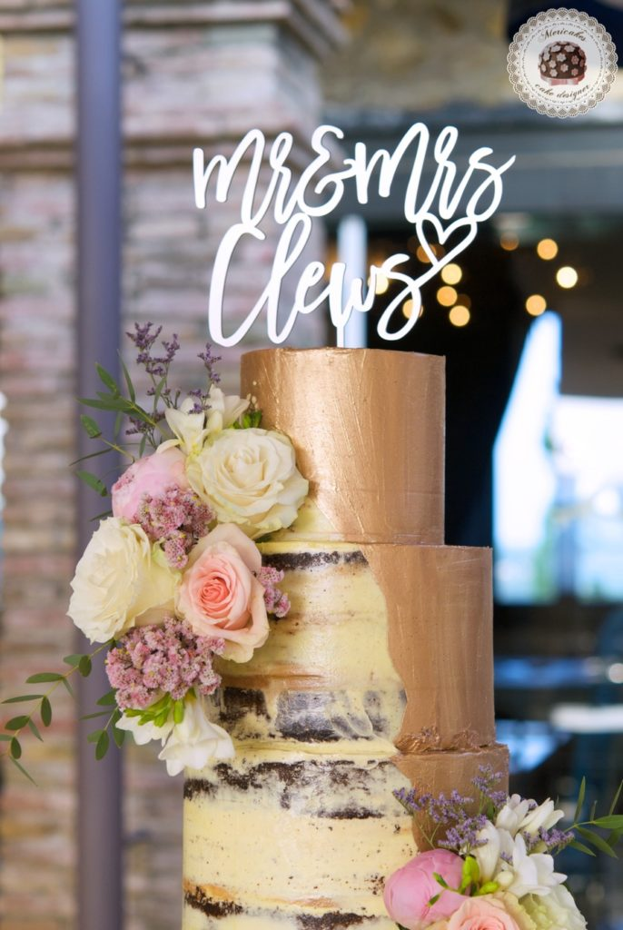 Pink Gold Semi Naked Wedding Cake