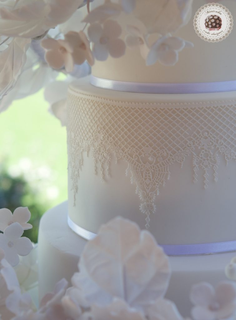 Floating Floral Cascade Wedding Cake