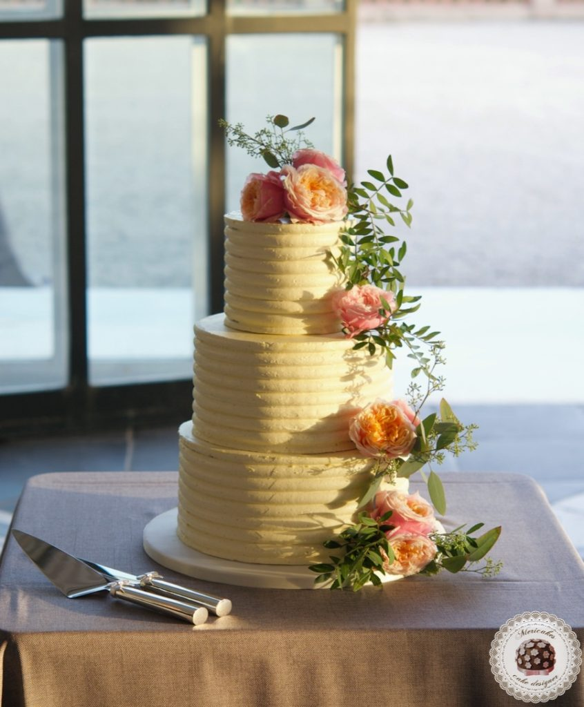 Cream Stripes Wedding Cake