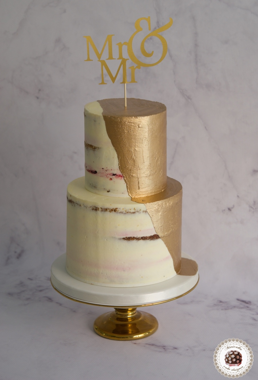 Wedding gold cream cake