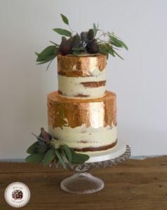 copper leaf wedding cake