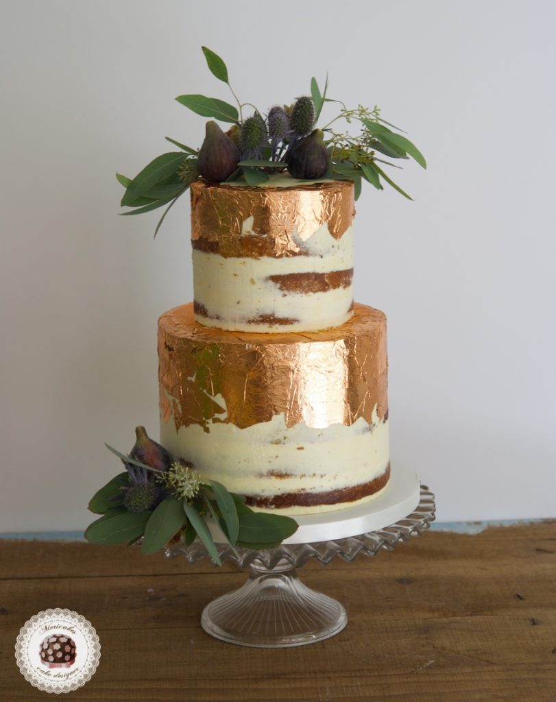 copper leaf wedding cake