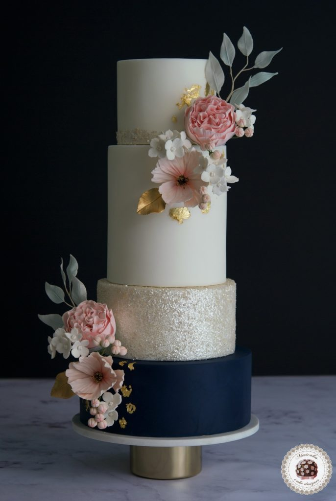 Navy and Blooms Wedding Cake