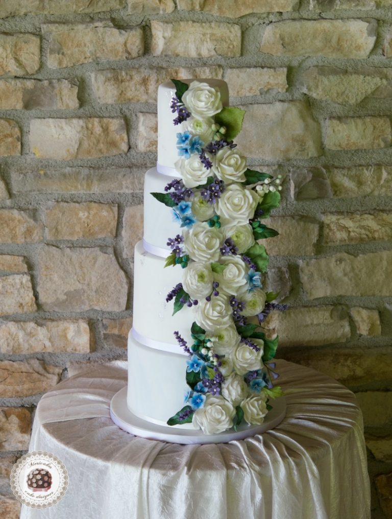 Marble and Blossom Wedding Cake