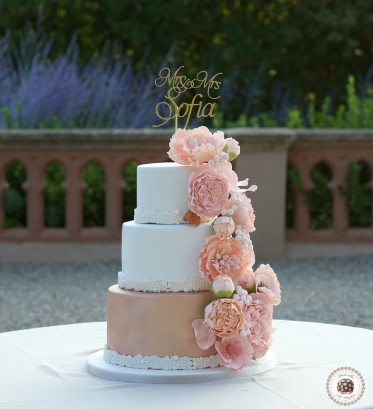 Peach Bouquet Wedding Cake