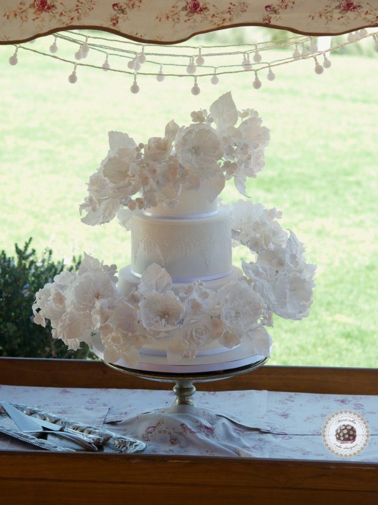 Floating Floral Cascade Wedding Cake