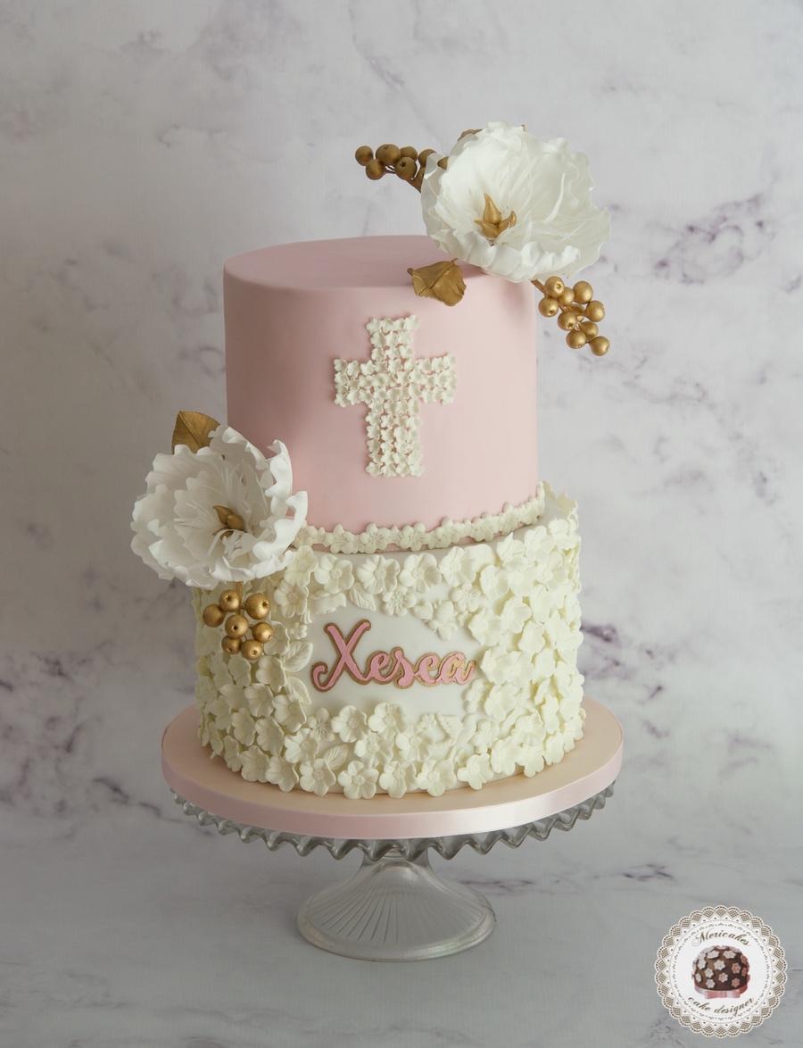 Christening flowers cake