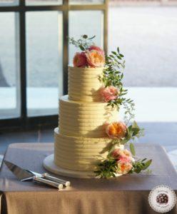 Cream Stripes Wedding Cake