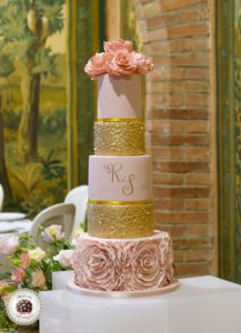 Ruffles and sequins wedding cake