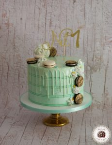 Mint and Gold Drip Cake