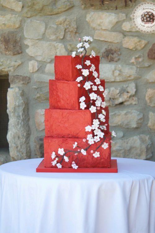 Cherry blossom, flor de cerezo, tarta de boda, wedding cake, mericakes, tartas barcelona, spain wedding, cream cake, red velvet, flores de azucar, sugarflowers, red wedding, cake artist 2