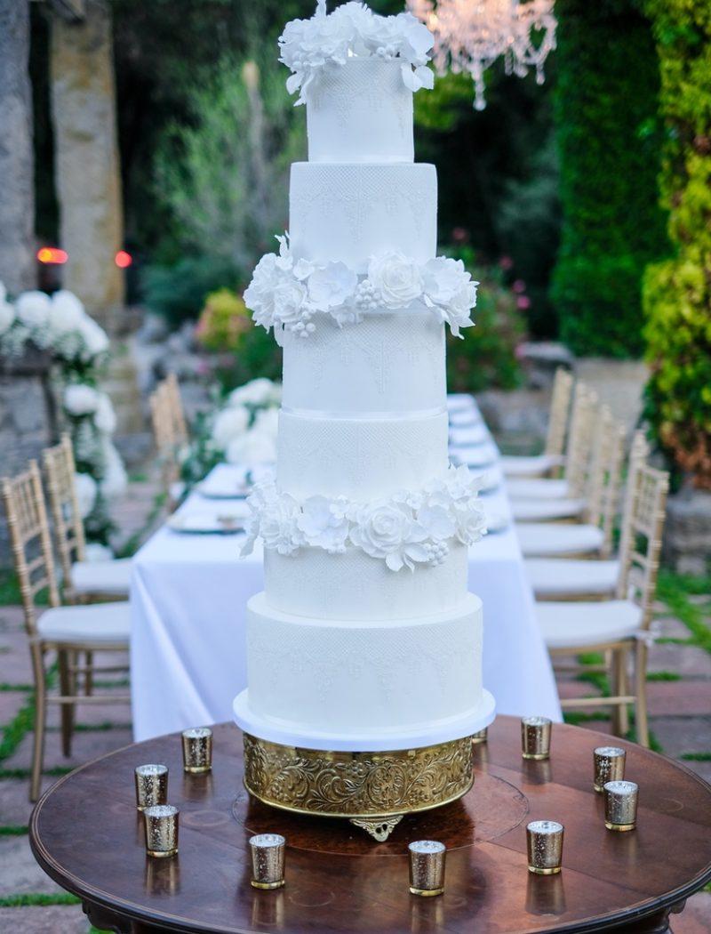 Lace Blooms Wedding Cake