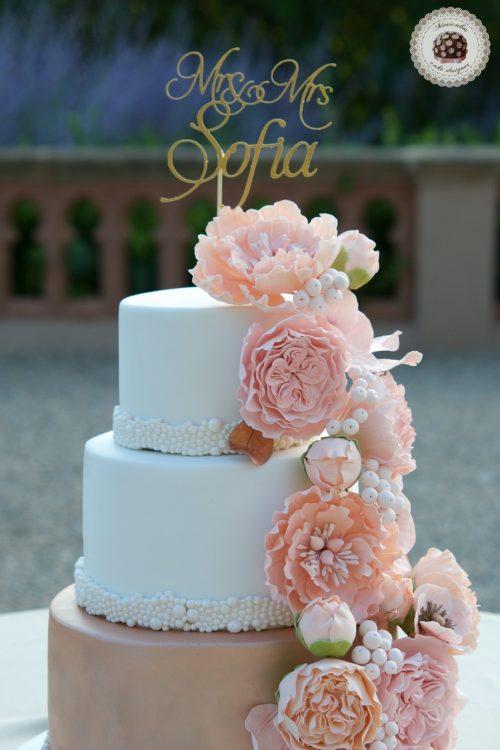 Peach Bouquet Wedding Cake